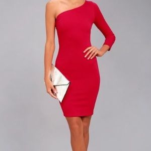 Lulus red one shoulder bodycon mini dress
